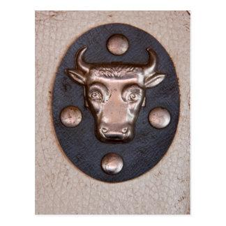 Cabeza del toro del metal del vintage postales