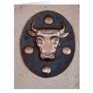 Cabeza del toro del metal del vintage tarjeta de felicitación grande