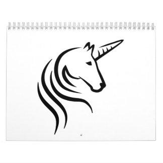 Cabeza del unicornio calendario de pared