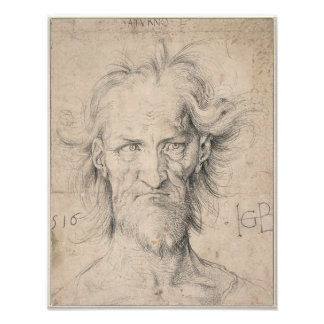 Cabeza del viejo hombre barbudo (Saturn) por Durer Cojinete