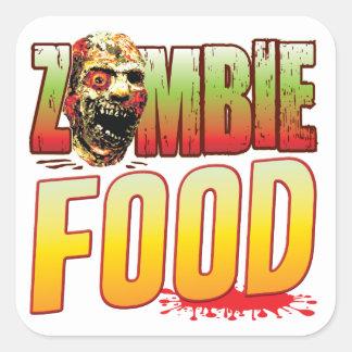 Cabeza del zombi de la comida pegatina cuadrada