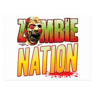 Cabeza del zombi de la nación postales