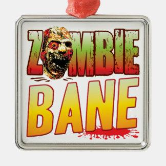 Cabeza del zombi de la perdición adorno cuadrado plateado