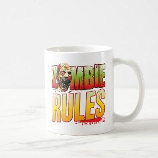 Cabeza del zombi de las reglas taza básica blanca