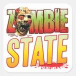 Cabeza del zombi del estado pegatinas cuadradas