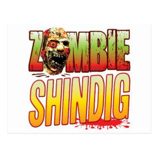 Cabeza del zombi del festejo alborotado postal