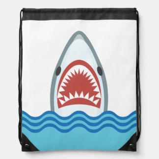Cabeza divertida del tiburón del dibujo animado mochila