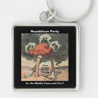 Cabeza en el Partido Republicano de la arena Llavero Cuadrado Plateado
