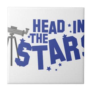 Cabeza en estrellas azulejo cuadrado pequeño