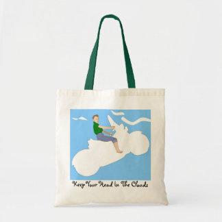 Cabeza en las nubes - tote bolsa tela barata