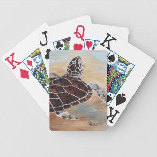 Cabeza encima de naipes de la tortuga baraja cartas de poker