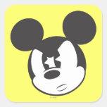Cabeza enojada clásica de Mickey el | Pegatina Cuadrada
