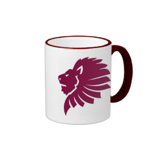 Cabeza enojada del león taza