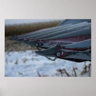Cabeza escarchada del tractor de la cosechadora de posters