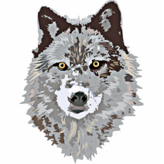 Cabeza estilizada del lobo cortada pin fotoescultura