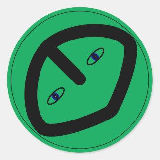 Cabeza extranjera verde del estilo etiqueta