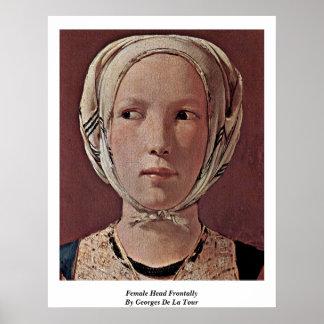 Cabeza femenina frontal por Georges de La Tour Póster