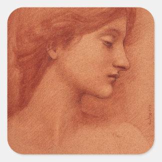 Cabeza femenina, retrato fino de Edward Pegatina Cuadrada