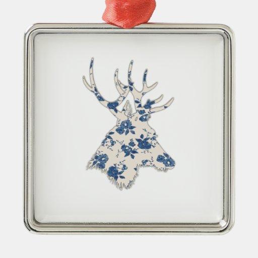 Cabeza floral de los ciervos del vintage adorno navideño cuadrado de metal