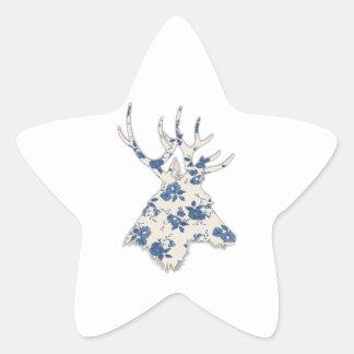 Cabeza floral de los ciervos del vintage pegatina en forma de estrella