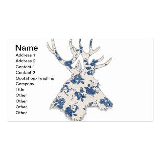Cabeza floral de los ciervos del vintage plantilla de tarjeta personal
