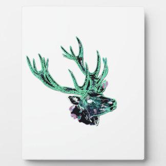 Cabeza floral verde y púrpura invertida neón del placa de plastico