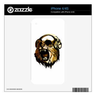 Cabeza fresca del león con los vidrios y los calcomanías para iPhone 4