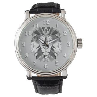 Cabeza geométrica de plata del león reloj