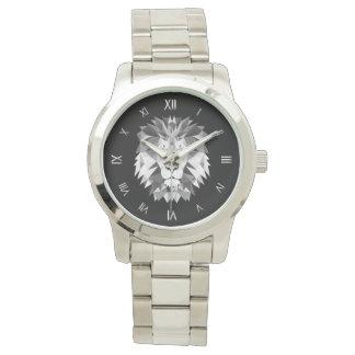 Cabeza geométrica de plata del león relojes de pulsera
