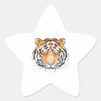 Cabeza grande del tigre calcomania cuadrada personalizada