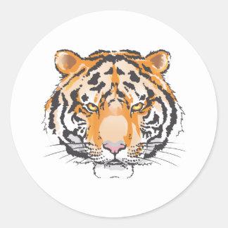 Cabeza grande del tigre pegatina redonda