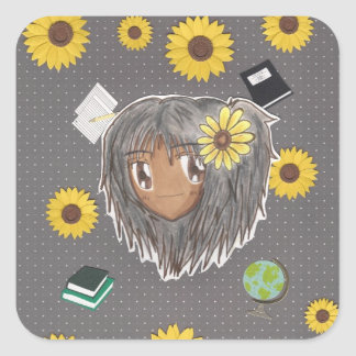 Cabeza Hinata de Chibi con collage Pegatina Cuadrada