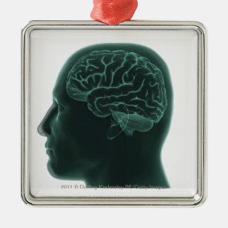 Cabeza humana en el perfil que muestra el cerebro adorno navideño cuadrado de metal