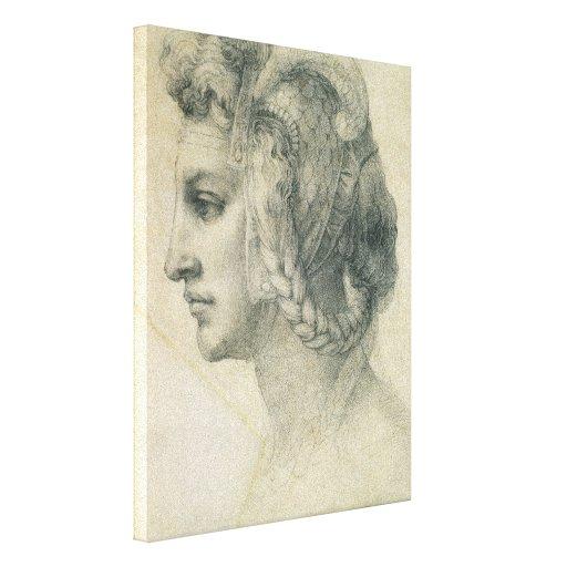 Cabeza ideal de una mujer de Miguel Ángel Impresión En Lienzo