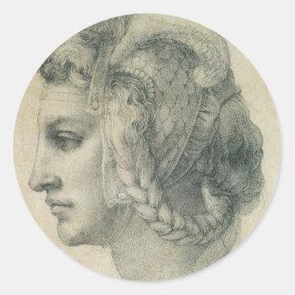 Cabeza ideal de una mujer de Miguel Ángel Pegatina Redonda