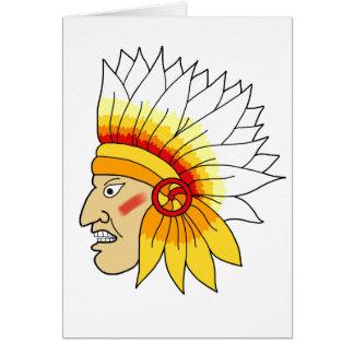 Cabeza india roja tarjeton