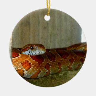 cabeza lateral de la serpiente de rata roja ornamentos de navidad