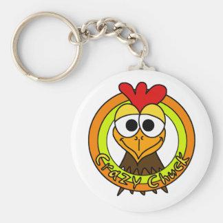 Cabeza loca del pollo de la tirada llavero redondo tipo pin
