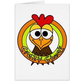 Cabeza loca del pollo de la tirada tarjeta de felicitación