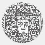 Cabeza maya del Stele Etiqueta Redonda