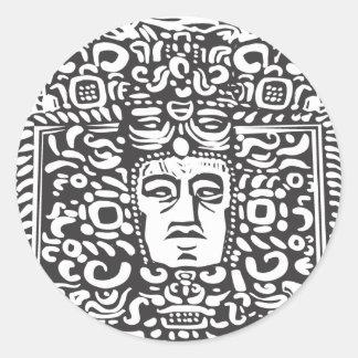 Cabeza maya del Stele Etiqueta