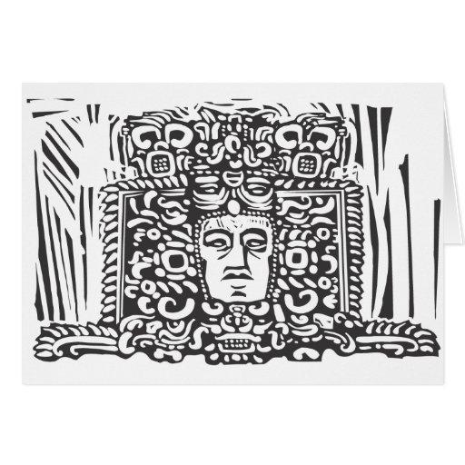 Cabeza maya del Stele Tarjeta De Felicitación
