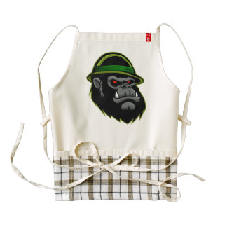 Cabeza militar del gorila delantal zazzle HEART
