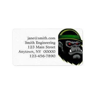 Cabeza militar del gorila etiquetas de dirección
