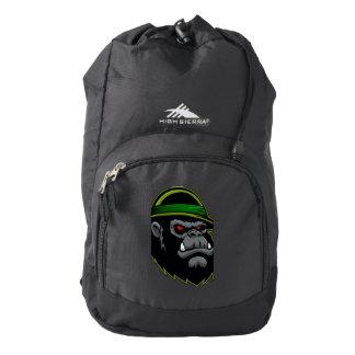 Cabeza militar del gorila mochila