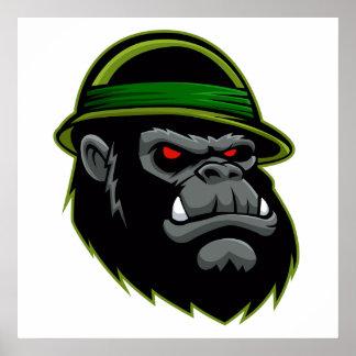 Cabeza militar del gorila póster