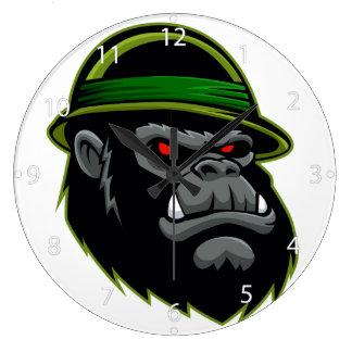 Cabeza militar del gorila reloj redondo grande