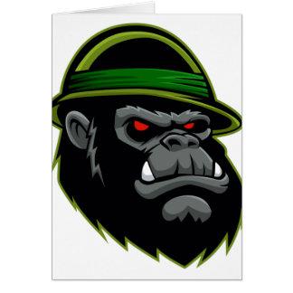Cabeza militar del gorila tarjeta de felicitación