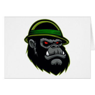 Cabeza militar del gorila tarjeta pequeña