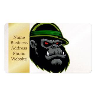 Cabeza militar del gorila tarjetas de visita